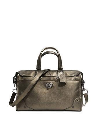 Coach Rhyder Satchel In Metallic Two Tone Leather