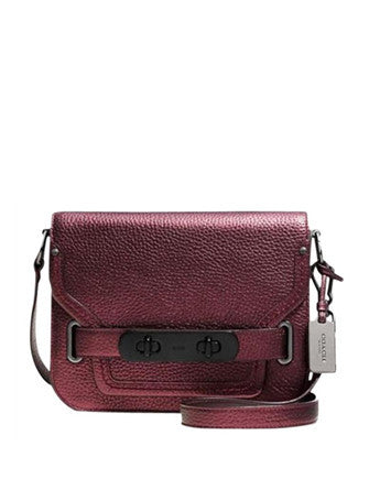 Coach Metallic Pebble Leather Swagger Small Shoulder Bag