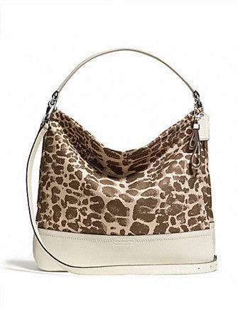 Coach Park Giraffe Print Canvas and Leather Hobo