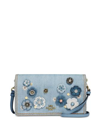 Coach Hayden Denim Crossbody with Tea Rose Applique