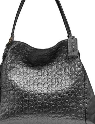 Coach Metallic Signature C Leather Rivet Edie 31 Shoulder Bag