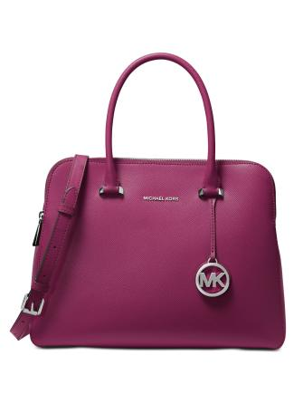 Michael Michael Kors Houston Double Zip Crossgrain Leather Satchel