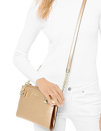 Michael Michael Kors Karla Metallic Leather East West Crossbody