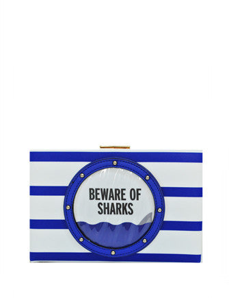 Kate Spade New York Emanuelle Make a Splash Beware of Shark Clutch