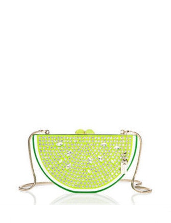Kate Spade New York Breath of Fresh Air Jeweled Lime Slice Clutch