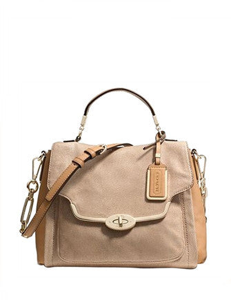 Coach Madison Glitter Lizard Small Sadie Flap Satchel