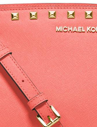 Michael Michael Kors Selma Medium Studded Saffiano Messenger