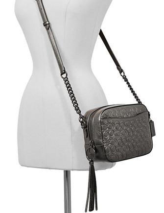 Coach Metallic Signature Embossed Leather Camera Bag