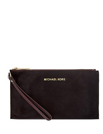 Michael Michael Kors Bedford Large Haircalf Zip Top Clutch