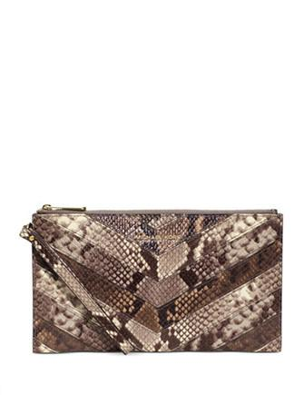 Michael Michael Kors Bedford Large Chevron Python Zip Top Clutch