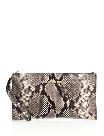 Michael Michael Kors Bedford Large Python Embossed Zip Top Clutch