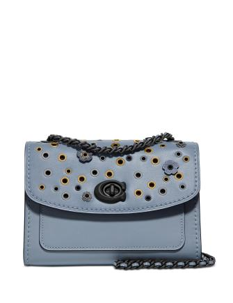Coach Parker 18 Leather Shoulder Bag With Scattered Rivets