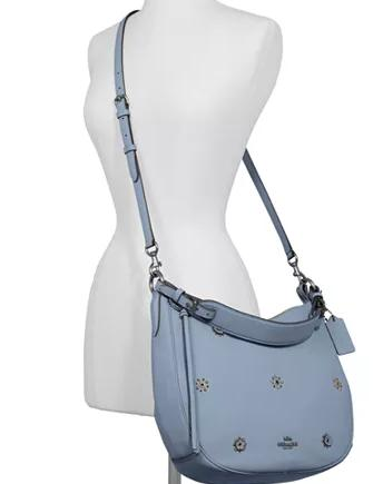Coach Sutton Leather Hobo With Scattered Rivets