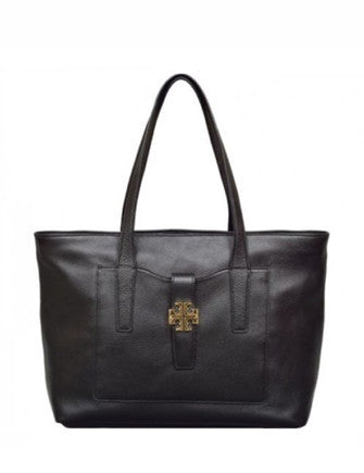 Tory Burch Meyer Plaque Leather Tote