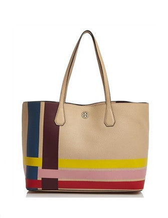 Tory Burch Perry Stripe Multi Colored Leather Tote