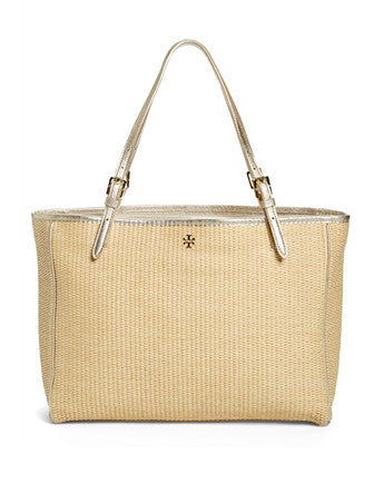 Tory Burch York Woven Straw Large Buckle Tote