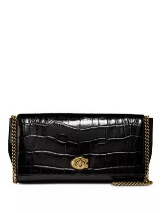 Coach Turnlock Clutch in Embossed Leather