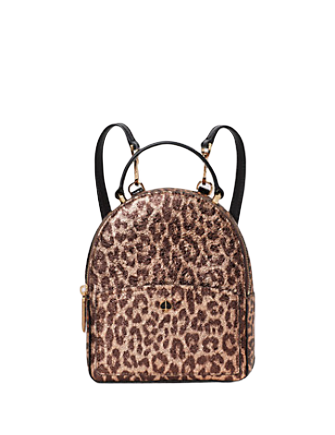 Kate Spade New York Amelia Metallic Leopard Mini Convertible Backpack