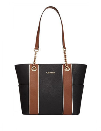 Calvin Klein Saffiano Leather Chain Shoulder Tote