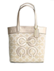 Coach Audrey Op Lurex Pique Leigh Slim Tote Handbag In Gold