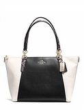 Coach Ava Exotic Snake Trim Crossgrain Leather Tote
