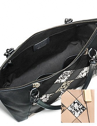 Coach Ava Patchwork Python Embossed Tote