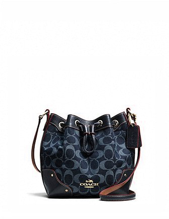 Coach Baby Mickie Drawstring Shoulder Bag in Denim Jacquard