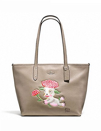 Coach Baseman X Coach Lou City Zip Tote in Pebble Leather