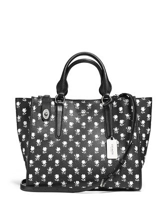 Coach Crosby Carryall Satchel In Floral Crossgrain Leather