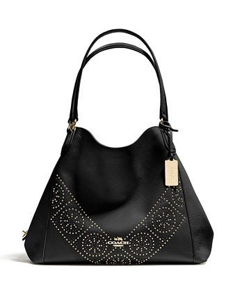 Coach Mini Studs Pebble Leather Edie Shoulder Bag