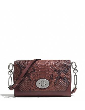 Coach Bleecker Crosstown Python Embossed Leather Crossbody
