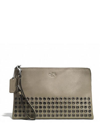 Coach Bleecker Grommets Large Pouch Clutch in Smooth Leather
