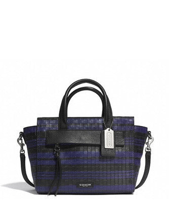 Coach Bleecker Mini Riley Carryall In Embossed Woven Leather