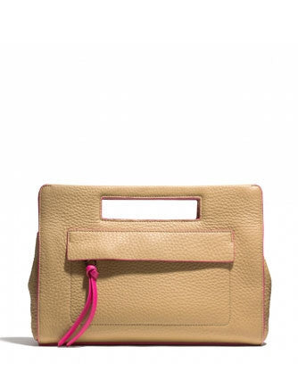 Coach Bleecker Pocket Pebbled Edgepaint Leather Clutch