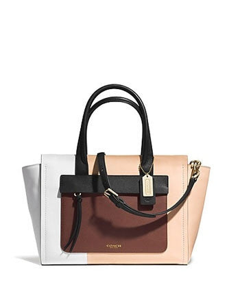 Coach Bleecker Riley Carryall Satchel in Colorblock Leather