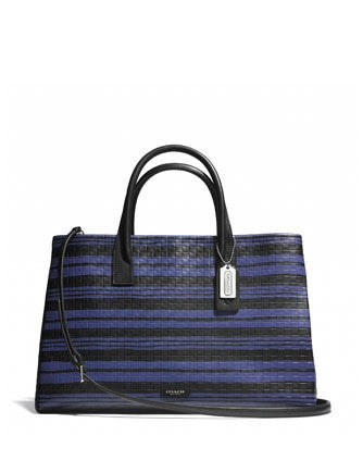 Coach Bleecker Studio Shopper Tote in Embossed Woven Leather