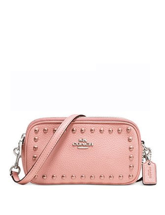 Coach Pouch Crossbody in Lacquer Rivets Pebble Leather