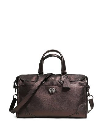 Coach Rhyder 32 Satchel In Metallic Leather