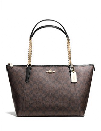 Coach Ava Chain Tote in Signature Print Coated Canvas