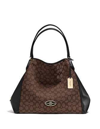 Coach Edie Shoulder Bag in Signature Jacquard and Leather