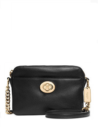 Coach Turnlock Camera Bag in Pebble Leather