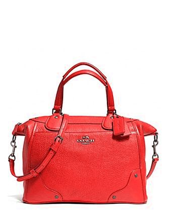 Coach Mickie Grain Leather Satchel