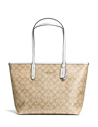 84b8f21080b3 Coach City Zip Top Tote in Signature Coated Canvas
