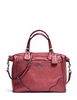 Coach Mickie Metallic Grain Leather Satchel