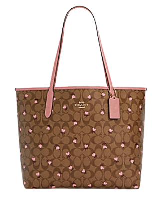 Coach City Tote in Signature Canvas With Heart Floral Print