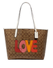 Coach City Tote in Signature Canvas With Love Print