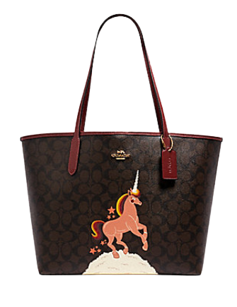 Coach City Tote in Signature Canvas With Unicorn
