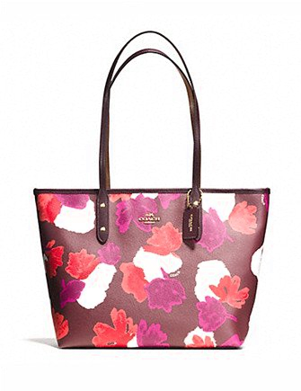 Coach City Zip Tote In Field Floral Print