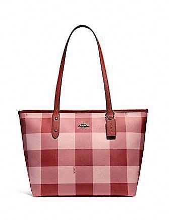 Coach City Zip Tote With Buffalo Plaid Print