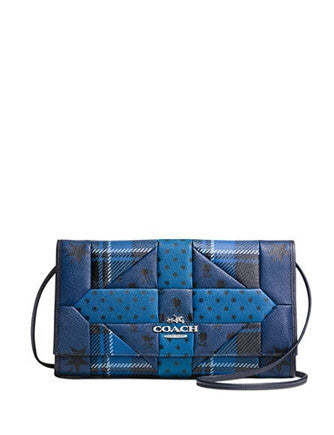 Coach Downtown Clutch in Patchwork Crossgrain Leather